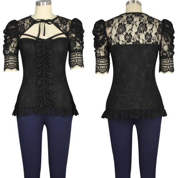 Plus Size Lace Steampunk Gothic Clothing Top Punk NWT